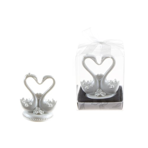 Lunaura Wedding Keepsake - Set of 12 Double Swan with Heart Favors (Wedding Tokens)