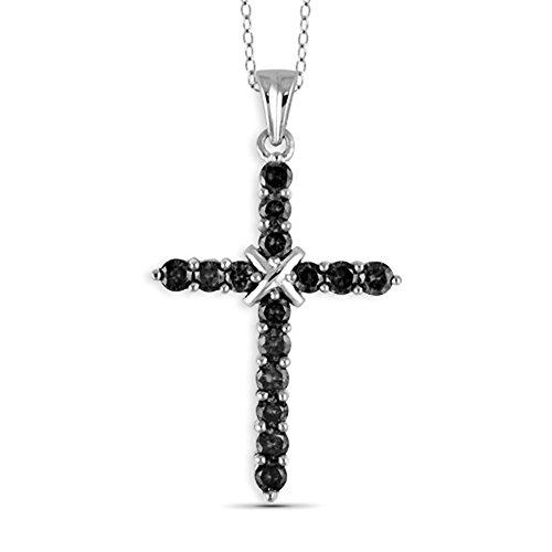 Jewelexcess 1/2 Carat T.W. Black Diamond Sterling Silver Cross Pendant ()