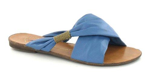 Spot On Ladies Slip On Sandals Blue NHDug2