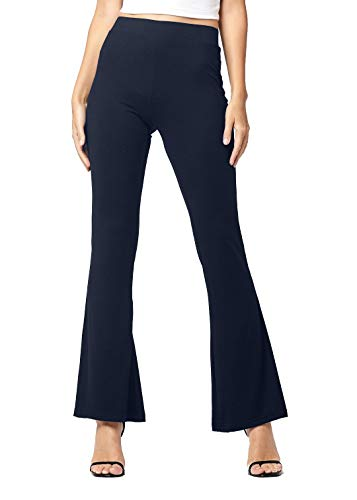 Buttery Soft High Waisted Stretch Fit to Flared Pants for Women - Wide Leg Bell Bottom - Boho - Solid - Navy - X-Large - GL-2004-Navy-XL