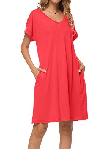 Women's Summer V Neck Short Sleeve Casual Loose Pockets T Shirt Dress Red S