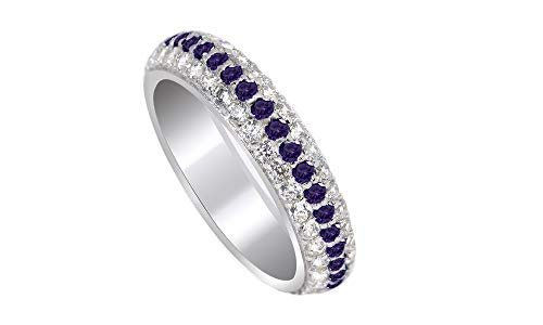 Jewel Zone US Round Cut Purple Simulated Alexandrite Eternity Ring in 14K White Gold Over Sterling Silver