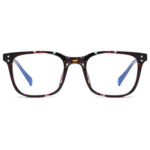 Square Blue Light Blocking Glasses Blue Light Filter Nerd Eyeglasses Computer Gaming Glasses for Men Women, Anti Eyestrain Unbreakable TR Frame, Tortoise Blue