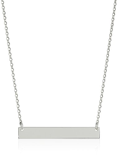 Sterling Silver Necklace with Engravable Bar Pendant (Engraved Sterling Silver Necklace)