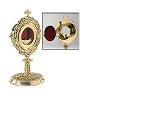 Monstrance with Removable Luna Brass/24kt Gold Plate 5 3/4 x 11