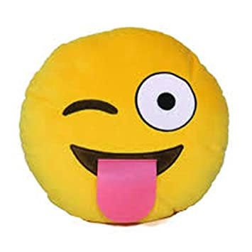 AARU Emoji Round FACE with Stuck Out Tongue Cushion, (12X12 INCHES) Yellow