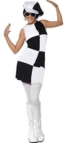 Vintage Dresses Australia- 20s, 30s, 40s, 50s, 60s, 70s Ladies 1960s Black & White Mod Party Girl Hen Do Fancy Dress Costume Outfit UK 8-18 AUD 37.19 AT vintagedancer.com