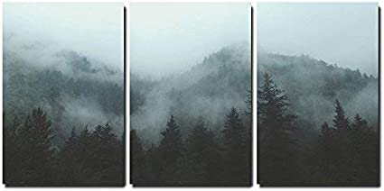 Wall26 3 Piece Canvas Wall Art Mountain Forest In Fog Modern Home Art Stretched And Framed Ready To Hang 24 X36 X3 Panels Home Kitchen