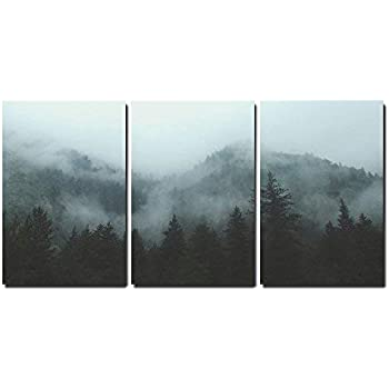 wall26 - 3 Piece Canvas Wall Art - Mountain Forest in Fog - Modern Home Decor Stretched and Framed Ready to Hang - 16