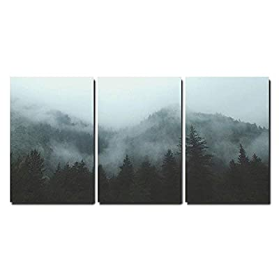 Mountain Forest in Fog x3 Panels, Crafted to Perfection, Dazzling Print
