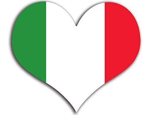 MAGNET Heart Shaped Italy Flag Magnetic Sticker (Italia, Italian)