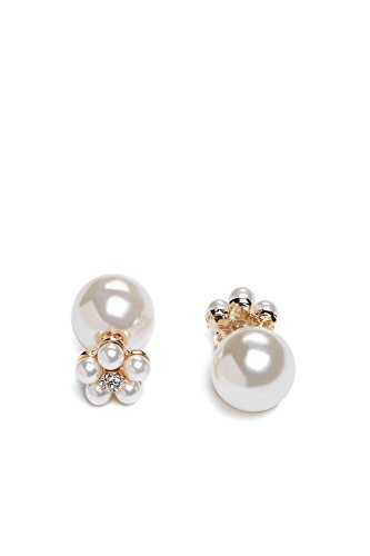 Pearl Front Back Earrings Double Sided Studs Ball Ear Jacket (pearl, flower, gold)