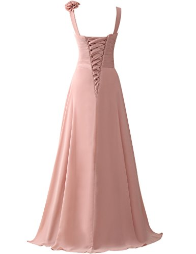 Prom Party Long Gowns Bridesmaid Cdress Silver Applique Flowers Straps Chiffon Dresses SqSO680w