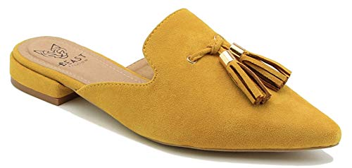 Beast Fashion Gem-01 Suede Pointed Toe Slip On Tassels Flat Loafer Mules (6, Mustard)