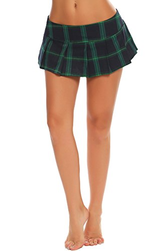 Avidlove Women Role Play Mini Plaid Skirt Polyester Red Sexy Schoolgirl Lingerie (XXL = US XL, (Mini Petite Skirt)