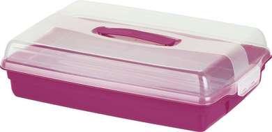 Curver Kuchenbox Kuchentransportbehälter Kuchen-Transportbox aus Kunststoff mit bequemem Tragegriff und sicherem Verschluss (Rosa-Transparent)