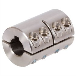 Two-piece clamp coupling MAT both sides bore 25mm with keyway stainless steel 1.4305 with bolts DIN 912 A2-70