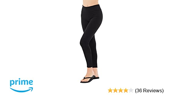 d550674ada Amazon.com: EVCR Plain Black Buttery Soft Non See-Through Everyday Yoga 7/8  Leggings: Clothing