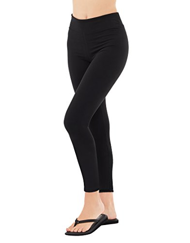 EVCR Compression Leggings for Women - 7/8 Length Non See Through Soft Athletic Yoga Pants for Workout, Black, Medium