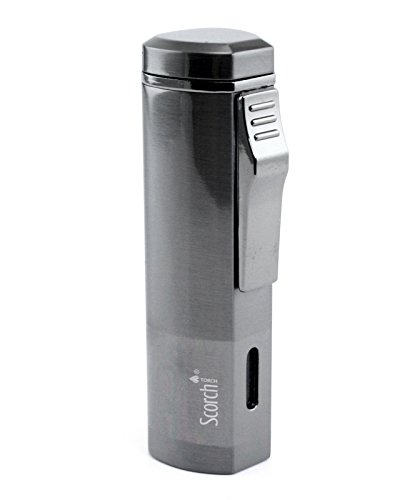 Scorch Torch Aficionado Easy Slide Switch Triple Jet Flame Butane Torch Cigarette Cigar Lighter w/ Butane Window (Gunmetal)