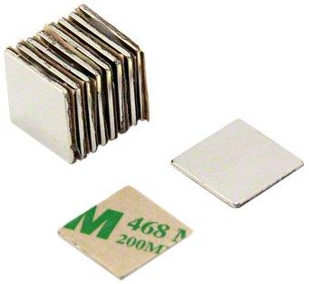 Magnet Expert® Adhésif 15 x 15 x 1mm N42 néodyme aimant, 1,2kg force d'adhérence, Sud, pack de 10 2kg force d'adhérence Magnet Expert® F350SA-10