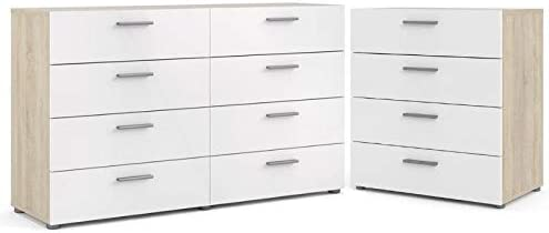 Home Square 2 Piece Bedroom Set with 8 Drawer Double Dresser and 4 Drawer Chest in White