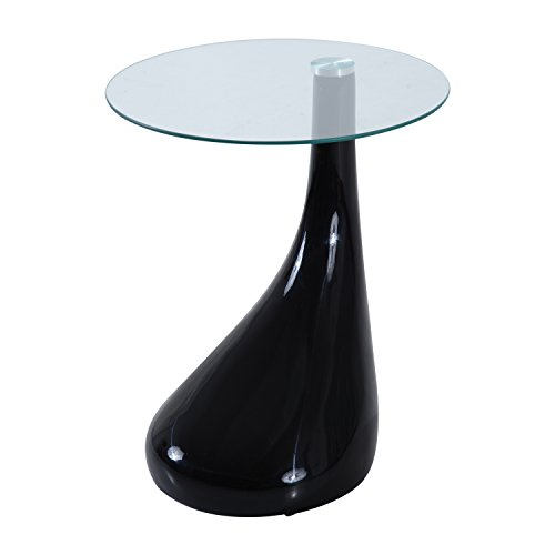 "[HomCom 21"" Round High Gloss Glass Tear Drop Side End Table (Black)] (Black Glass Nesting Tables)"