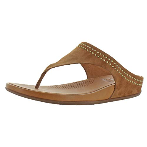 (FitFlopTM Womens BandaTM Suede Toe-Thong Sandals with Studs Tan Size 5)