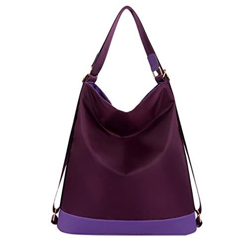 Nylon Studded Tote - Bohelly Women Shoulder Tote Bag Multi-Function Nylon Purse Handbag Travel Shoulder Bag Purses Small Ladies Messenger Bags Purple