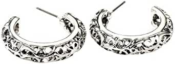Neoglory Jewelry Antique Silver Color Cut Out Bali Post Hoop Earrings for Sensitive Ears