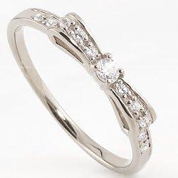 リボンリング 18金 指輪 ダイヤモンド ピンキーリング ホワイトゴールドK18 1号から K18WG オシャレ 人気 15号