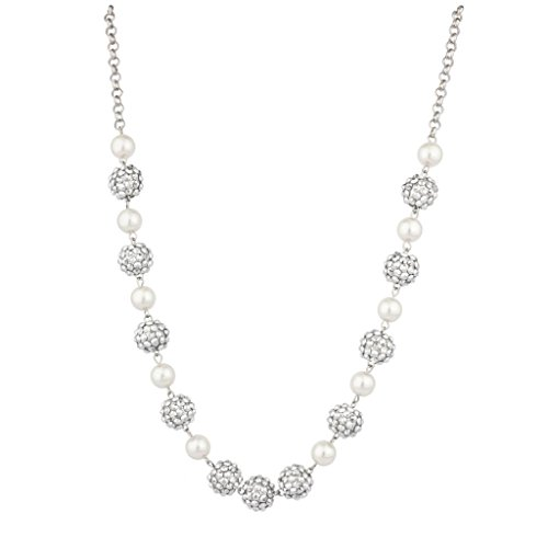 (Lux Accessories imitation Pearl Fireball Studded Statement Necklace)