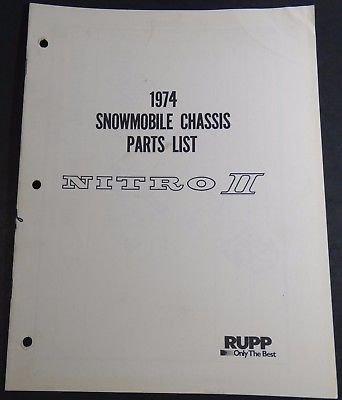 VINTAGE RUPP NITRO II SNOWMOBILE CHASSIS PARTS LIST MANUAL (415) (Snowmobile Chassis)