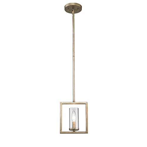 Golden Lighting 6068-M1L WG Marco WG - One Light Mini Pendant, White Gold Finish with Clear Glass - Marco Modern Pendant