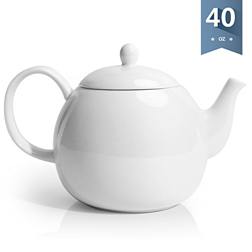 English Teapot - Sweese 2310 Porcelain Teapot, 40 Ounce Tea Pot - Large Enough for 5 Cups, White