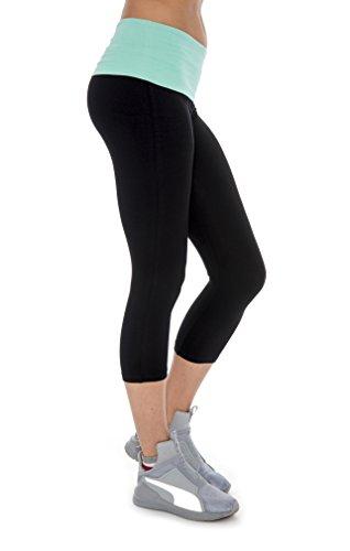 UPC 729378331546, Unique Styles Fold-over Waistband Stretchy Cotton-blend Yoga Capri Pants