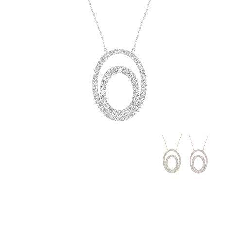 - IGI Certified 10K Yellow Gold 1/4Ct TDW Diamond Double Frame Oval Necklace(I-J,I2)
