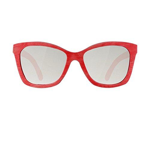 Moda Gafas Color Haoyuxiang Sol Bambú De Aire Silver Monopatín Al Libre Madera red dXXR68