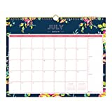 Day Designer for Blue Sky 2018-2019 Academic Year Monthly Wall Calendar, Twin Wire Binding, 15'' x 12'', Peyton Navy Design