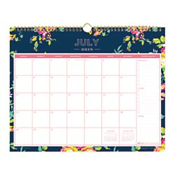 Day Designer for Blue Sky 2018-2019 Academic Year Monthly Wall Calendar, Twin Wire Binding, 15'' x 12'', Peyton Navy Design by Blue Sky