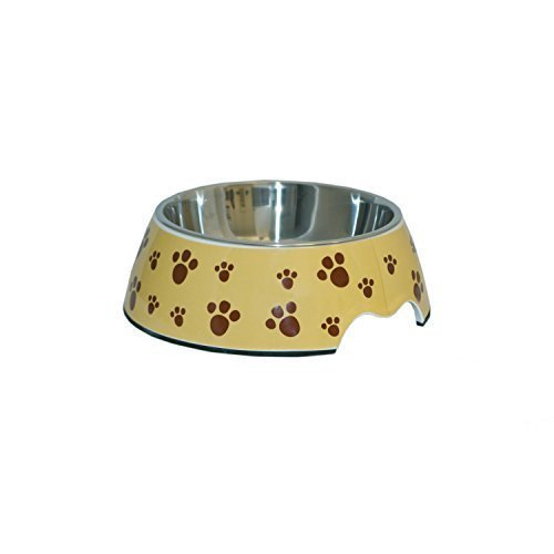 Print Pet Paw Bowl - ALEKO® LPB1506L Large Pet Food Bowl, Melamine With Steel Removable Bowl, Tan Color With Paw Prints