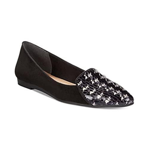 327eefa2388 Style   Co. Womens Desya Houndstooth Smoking Flats Black White 9 ...