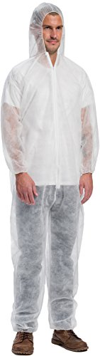 West Chester 3506 X2XL WGT Sbp Coverall-Hood El.Wr&Ank, White, XxXL (Pack of 25), (Pack of 25)