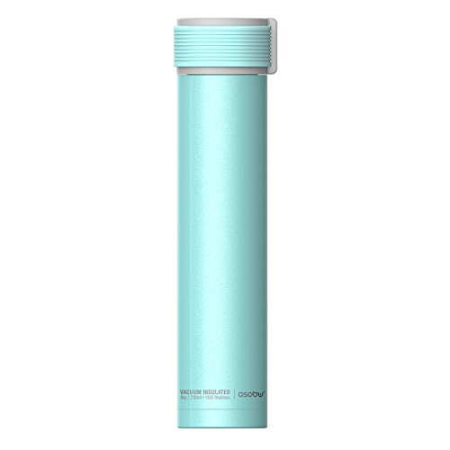 The Asobu Skinny Mini 8oz Fashionable Double Walled Stainless Steel Insulated Pocket Sized Flask (Teal)
