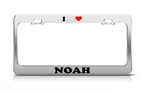I HEART NOAH Boy Girl Name Love Metal Auto License Plate Frame Tag Holder (Noah Car Covers Best Price)