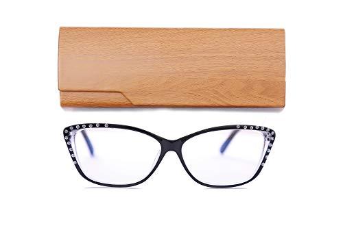 (Genetic Vision Ladies Cat Eye Stylish Reading Glasses Blue Light Blocking Rhinestones Prescription Computer Readers Spring Hinge for Women(Black, 2.0 Strength))