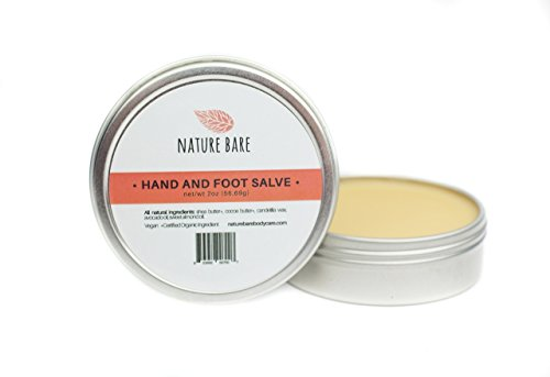 Nature Bare Body Care - Intensive Hand and Foot Salve - All Natural Organic and Vegan Ingredients - Great For Sore, Tired and Rough Hands and Feet