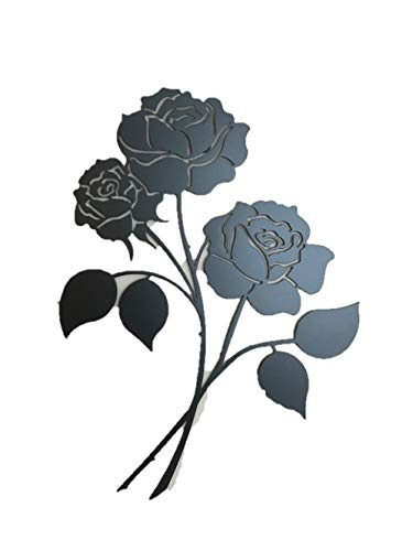 Bookishbunny Rose Flower Wrought Iron Wall Art Home Decor Flower Decoration Patio Plaque Metal Art, 2mm Thick (16 inches Triple Roses) ()