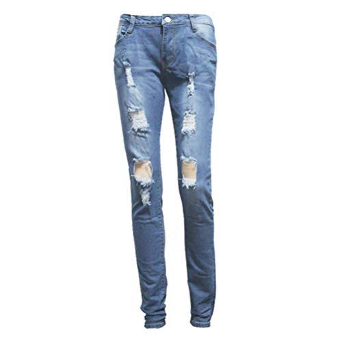 POTTOA Pantalon Femme, Femmes Sexy Dechir Crayon Pantalon Taille Haute Mince lastique Pantalon Skinny Trou Jeans Slim Fit-Pantalon Fluide Femme,Pantalon Crayon Femme,Legging Femme Taille Haute Blue