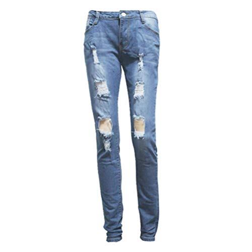 Fit Slim Skinny Pantalon Dechir Femme Fluide Femme Crayon Pantalon Trou Haute Taille Crayon Blue lastique Pantalon Pantalon Femmes Haute Taille Pantalon POTTOA Jeans Sexy Legging Mince Femme Femme Yqw7Zwxa